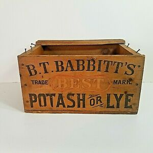 BT Babbitts Best Potash or Lye Soap Box Wood Crate Authentic Advertising c.1890