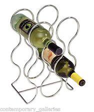 Modern Contemporary Shiny Chrome Freestanding 6 Bottle Tabletop Metal Wine Rack
