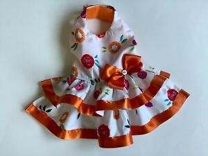 Handmade colorful flowers doggie dress size Small