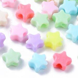 100 Star Beads Kids Crafts 10mm Acrylic Plastic Pastel Random Mix USA 1059