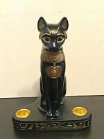 Vtg.  Summit Collection Black Egyptian Cat Goddess Statue Figurine Double Candle
