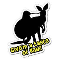 Give'm A Taste Of Kiwi Sticker New Zealand NZ Kiwi Car Fern Decal #5193EN