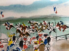 Horse Racing Watercolor Litho Signed by Hachet 119/225 framed