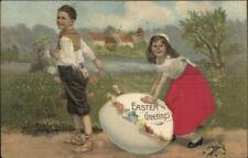 Easter - Kids w/ Giant Egg - Little Girl Real Silk Dress c1910 Postcard