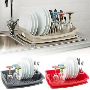 Large Plastic Dish Plate Utensil Drainer Rack Kitchen Washing Up Draining Holder