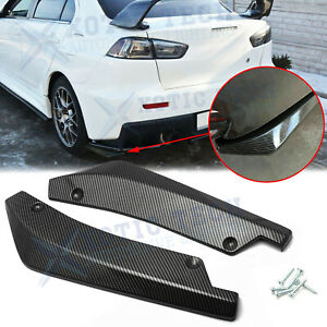 JDM Carbon Fiber Style Rear Bumper Canard Splitter Lip For Mitsubishi Lancer EVO