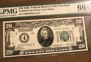 1928   Cleveland $20 federal reserve note , crisp &  bright  Pmg 66 EPQ