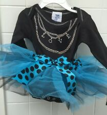 Haute Stuff Baby Girl Size 12m Blue Black Tutu Bodysuit Dress BNWT Shower Gift