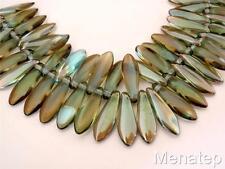 25 5 x 16mm Czech Glass Dagger Beads: Aquamarine - Celsian