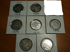 Lot (7x) 50 fifty cents canada 1968 1969 1975 1976 1980 1983 2002 # E