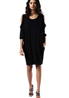 Diesel D-NOAH Shirt Dress Oversized Short Sleeve Cold Shoulder Black $148 NWT