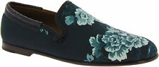 Dolce&Gabbana Men's loafers shoes in crocodile floral print blue azure leather