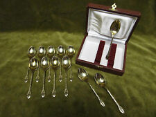 12 cuilleres à moka metal doré mod grain de café (demi tasse spoons coffee bean)