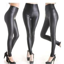 Women's Winter Warm High-Cut Stretchy Faux Leather Black Sliming Bottoming Pants