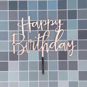 10X Happy Birthday Cake Topper Insert Card Acrylic Cake DIY Decor Party Supplies