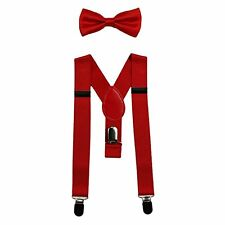 NEW Red Kids Baby Suspenders and Bow Tie Set Elastic Adjustable
