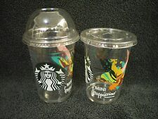 (2) New STARBUCKS Summer 2016 Limited Mini SMALL 10 Oz. FRAPPUCCINO CUPS w/ LIDS