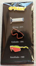 OAKLEY ICON HISTORY PIN SET GRIPS RAZORBLADES EYESHADES SUPER RARE