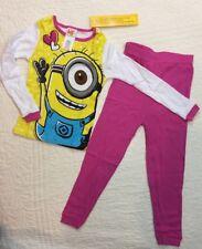 Despicable Me Minions Girls 2pc Pajama Sleepwear Set Pants Pink NWT Size 4