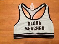 New PINK Victoria's Secret ALOHA BEACHES Racerback Green Black Sport Bra size M