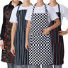 Women Men Apron With Pocket Check Striped Cooking Kitchen Baking Chef Bib Aprons