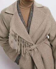 Zara Fringed Wool Coat With Belt