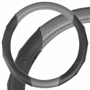 Ergonomic Motor Trend Sporty Carbon Fiber PU Leather Steering Wheel Cover Gray