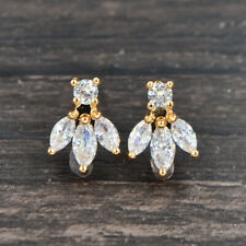 Fashion Women Gold Plated Clear Zirconia CZ Tail Stud Earrings Jewelry