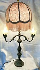 Large Antique Ornate Victorian Heavy Brass Candelabra Table Lamp + shade