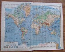 Erdkarte in Mercators Projektion - alte Landkarte Karte old map 1928
