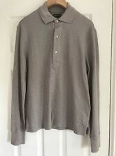"""Tom Ford TFJ774 Long Sleeved Polo Shirt Top Light Grey 38- 40"""" Chest, Size 48"""