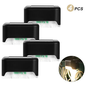 Solar LED Deck Lights Outdoor Path Garden Patio Stairs Step Fence Lamp 4Pcs
