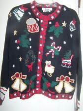 Cape Isle Knitters Hand Knitted Christmas Sweater Cardigan Large NV1t