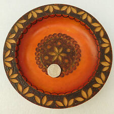 Vintage decorative carved wood plate Brass inlay wooden 6.5 inch Folk Art Craft