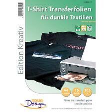 T Shirt Druck Folien: 16 T-Shirt Transferfolien für bunte Textilien A4 Inkjet