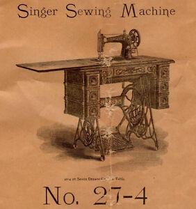 1903 Antico Manuale Istruzioni No. 27-4 Singer Cucito Macchina Forma 7613, 7475