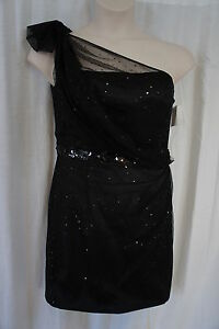 Alex & Eve Dress Sz 12 Black One Shoulder Sequin Waist Cocktail Evening Wear