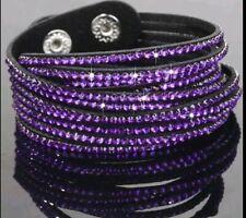 Double Wrap Pave Crystal Slake Bracelet made with Swarovski Element Black Purple