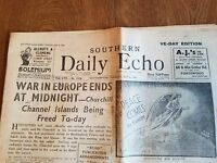 Rare May 8th, 1945 VE-DAY Edition Vintage Newspaper.  Southern Daily Echo