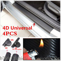 4Pc 4D Scratch resistant Carbon Fiber Car Door Sill Scuff Protector Stickers KIT
