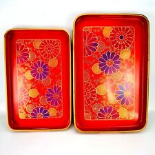 Vintage Lacquer Serving Trays Made in Japan Red Gold Floral MCM Set of 2
