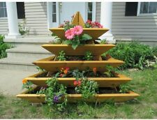 Raised Garden Bed Cedar Wood Pyramid 5-Tier Elevated Planter Box Flower Herb Pot
