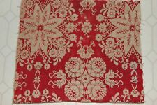 Antique Woven Primitive Christmas Red and Ecru Coverlet Piece