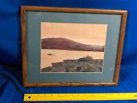 Signed Original Watercolor Painting Art River Sunrise Gulfport, MS VTG Custom