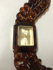 NWT Guess Goldtone W/ Dbl Tortoise Chain Strap Ladies Watch. W11613L1