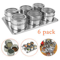 6x Magnetic Spice Storage Stainless Steel Container Jar Tins Jar Rack Holder US