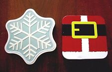 Set of 2 Empty Amazon CHRISTMAS GIFT CARD BOXES TINS Snowflake, Santa Suit VGC