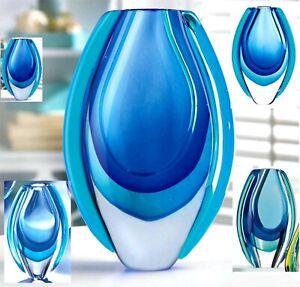 AZURE BLUE ART GLASS VASE *Hand Crafted* NIB