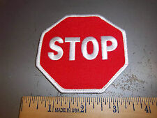 STOP sign embroidered Iron on Patch 3.25 x 3.25 inch, used on kids hockey jersey