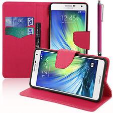 Housse Etui ROSE Portefeuille Effet Tissu Samsung Galaxy A7/ A7 Duos SM-A700